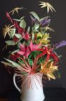 Arrangement of Straw and Straw Paper Flowers by Donna Hall